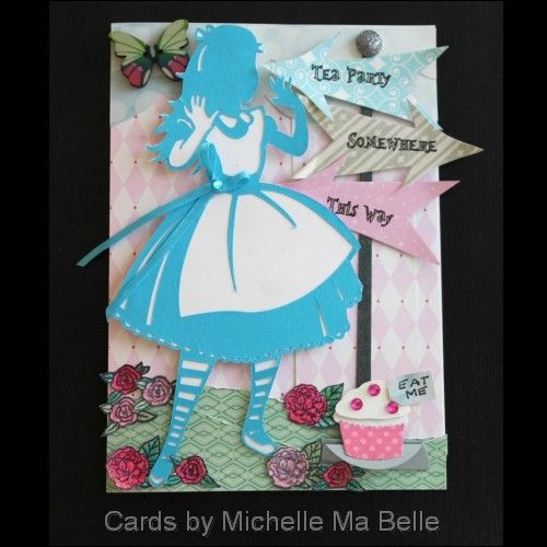 Handmade Alice In Wonderland Birthday Card Silhouette Cameo Image Cards By Michelle Ma Belle Alice In Wonderland Birthday Cards Handmade Cards