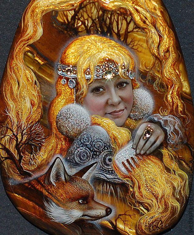 Купить Царевна Золотой Волос - лаковая миниатюра, портрет ...