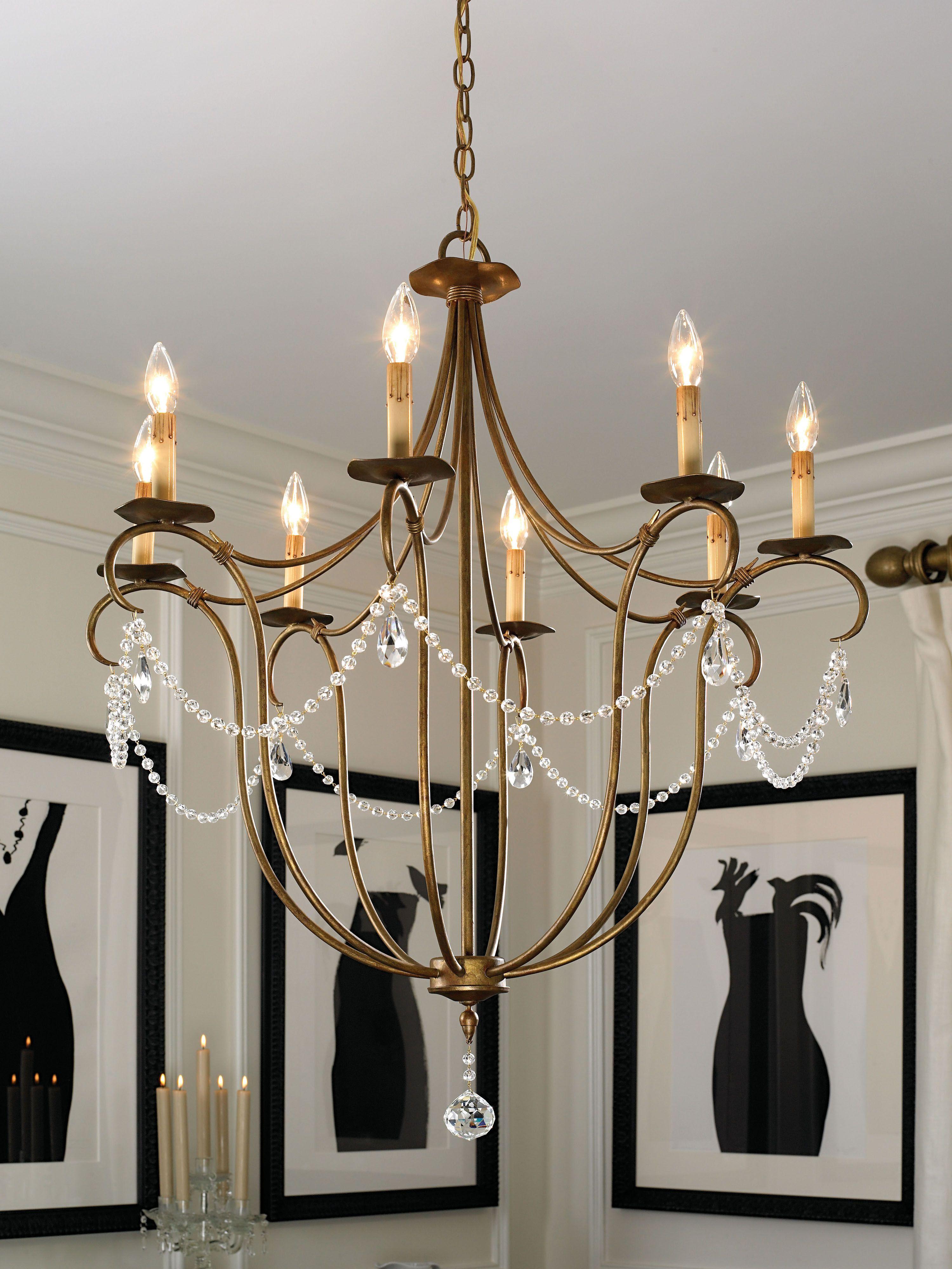 Currey & pany Crystal Light Rhine Gold Chandelier