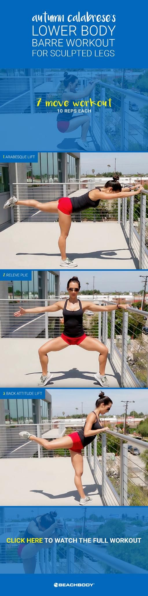 Sculpt your lower body with a muscle-toning barre workout from 21 Day Fix and The Master's Hammer and Chisel-creator Autumn Calabrese! In 5 minutes, tone your quads, hamstrings, calves, and booty with these moves! // fitness // leg workouts // butt workouts // lower body workouts // exercise // muscles // strength training // mini workouts // Beachbody // BeachbodyBlog.com
