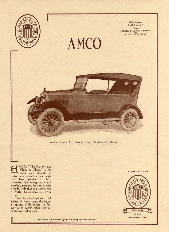 1920 Amco Advertisement American Motors Inc Of New York City