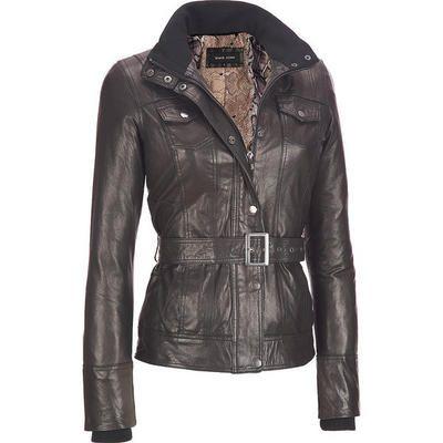 <ul><li>Shell: Genuine leather</li><li>Body Lining: 100% polyester; Sleeve Lining: 100% polyester; Knit: 100% polyester</li><li>Full-zip front; snap closure storm flap; stand up collar with knit trim and separate flap with snap closures</li><li>Rib-knit cuffs; Belted waist</li><li>Two chest flap pockets with snap closures; two hidden hand pockets below belt</li><li>Fully lined interior with snake print</li><li>Send to professional leather cleaner only</li><li>Made in China</li></ul>