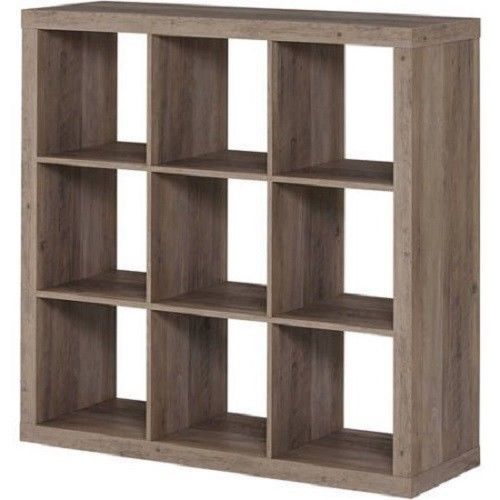 9 Cube Storage Bookcase Wood Organizer Rack Shelf Office Furniture Rustic Gray 9cubestoragebookcase