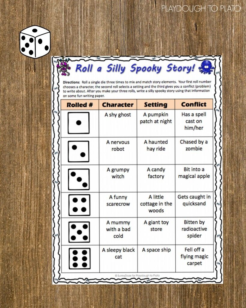 Such a fun way to get kids writing! Roll a silly spooky story.