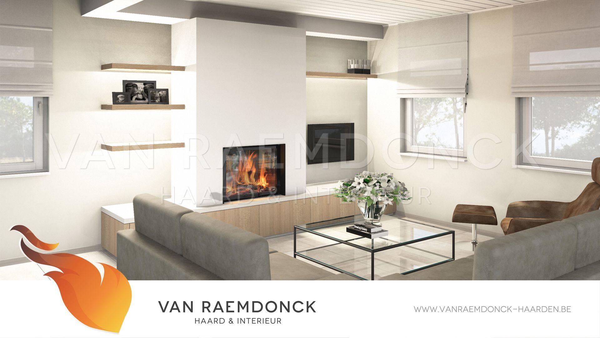 Houthaard Met Moderne Haardwand En Tv Voorziening Moderne  # Moderne Table A Tv