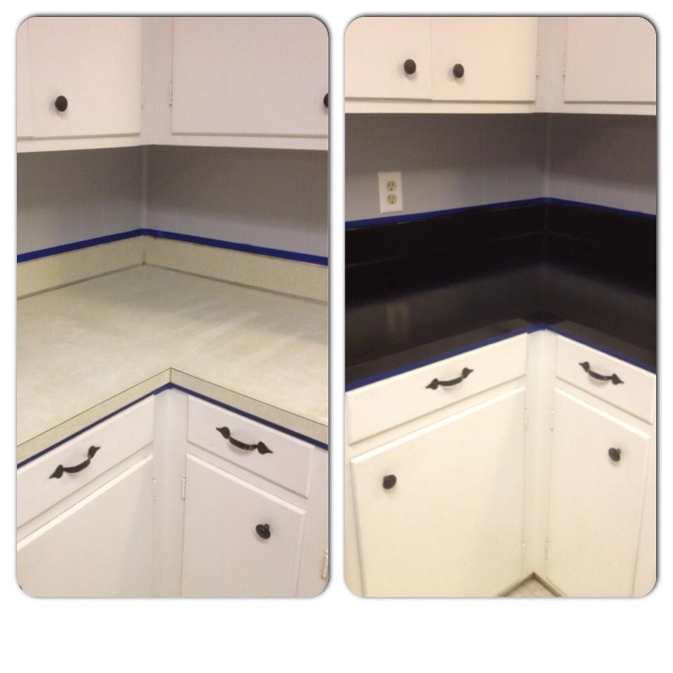 Ugly laminate countertop upgrade using rusoleum countertop paint ...