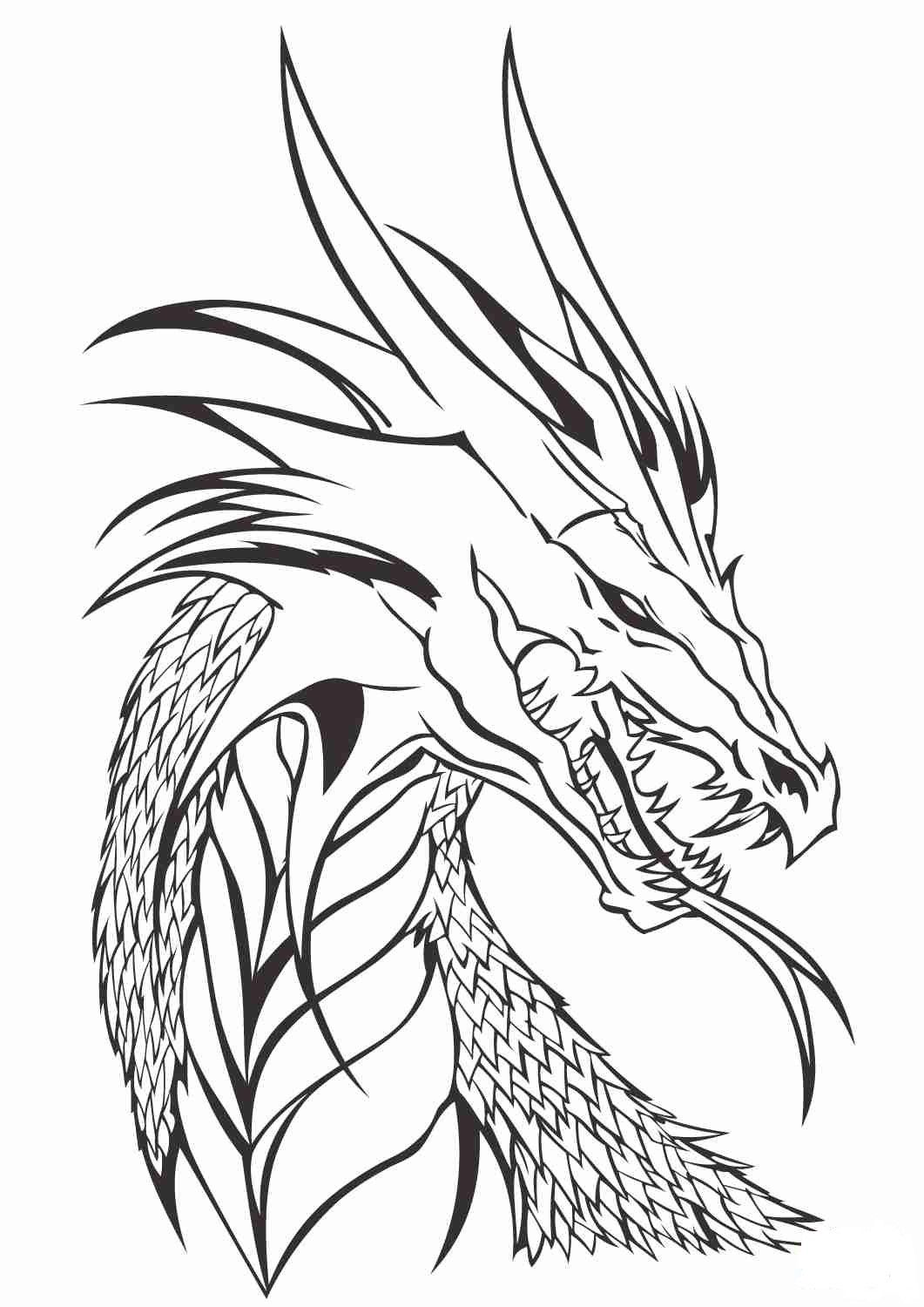 Realistic Dragon Coloring Page - youngandtae.com in 2020 ...
