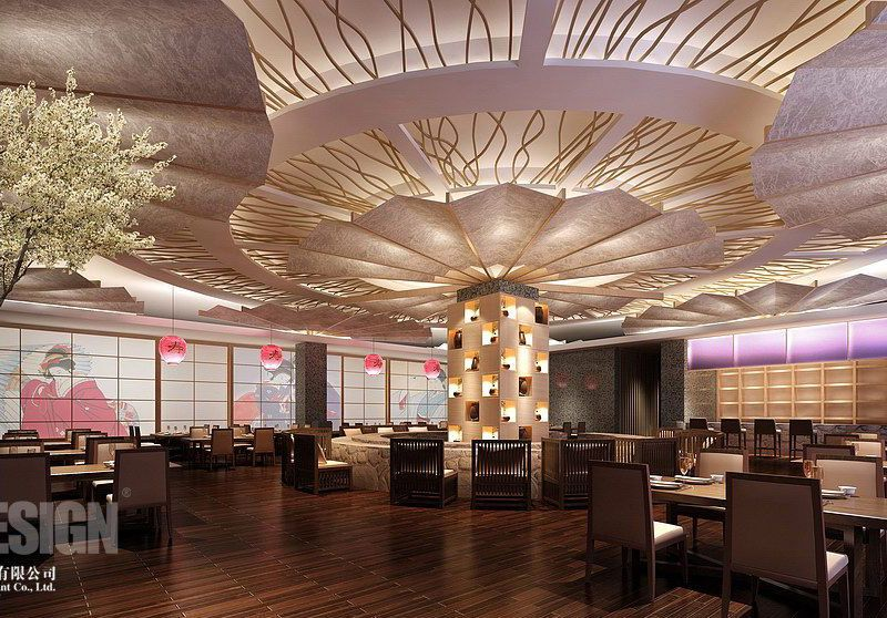 Beautiful Asian Restaurant Interior Design with Luxury: Elegant Asian  Restaurant Interior Designs Decorated With Stylish Ceiling Decor And A.