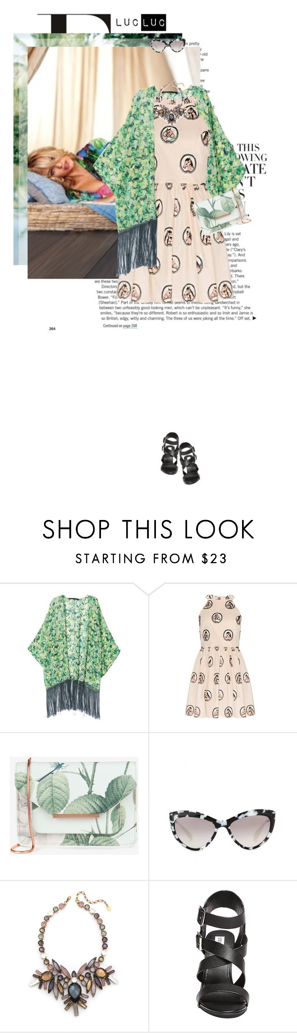 """""""Mix patterns"""" by lady-ss ❤ liked on Polyvore featuring Retrò, Ted Baker, Miu Miu, Erickson Beamon and Steve Madden"""