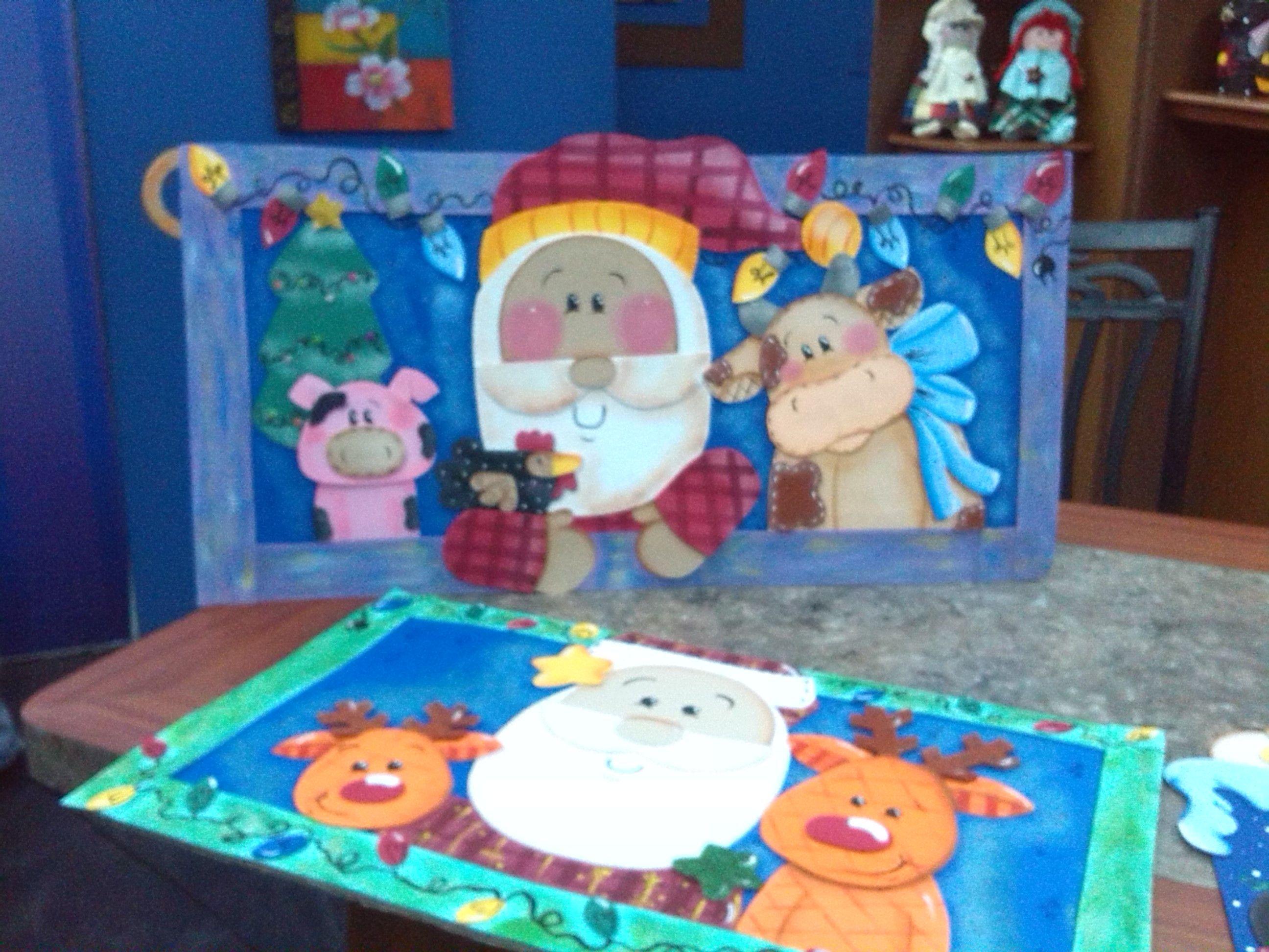 Cuadros de navidad santa en foami o goma eva mis for Cuadros de navidad