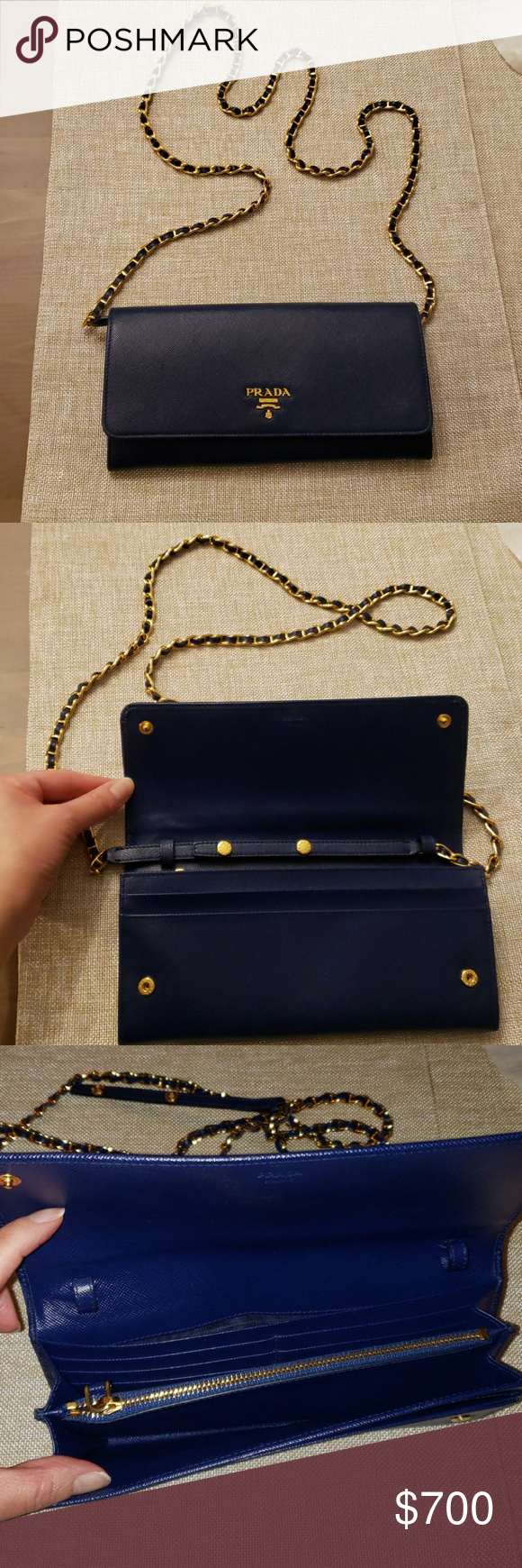 5b409fa251e5 Dust Bag · Prada Wallet On Chain (WOC) Blue leather with gold hardware.  Detachable chain.