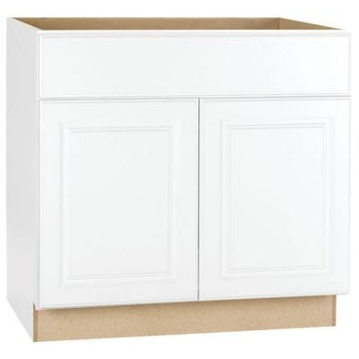 Hampton Bay Hampton Assembled 36 In X 34 5 In X 24 In Sink Base Kitchen Cabinet In Satin White Ksb36 Sw The Home Depot Base Cabinets Kitchen Cabinets Hampton Bay