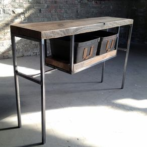 Entry Table/ Sofa Table/ Console Table Made Of Reclaimed Wood And Steel  With Salvaged