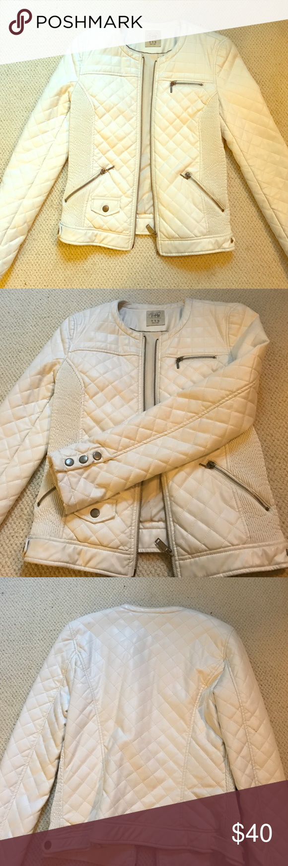 Zara Off white faux leather jacket Zara Off white faux