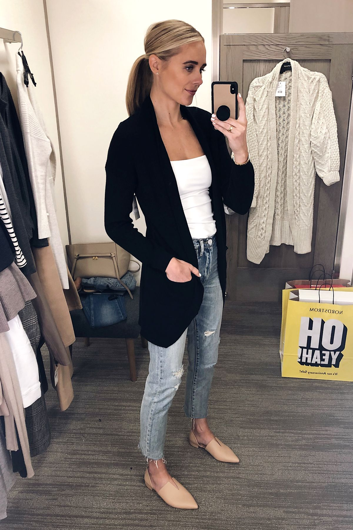 8940ea3a6593 Blonde Woman Wearing Nordstrom Anniversary Sale BP Cocoon Cardigan Black  Vince Darlington Flats Fashion Jackson San Diego Blogger Fashion Blogger