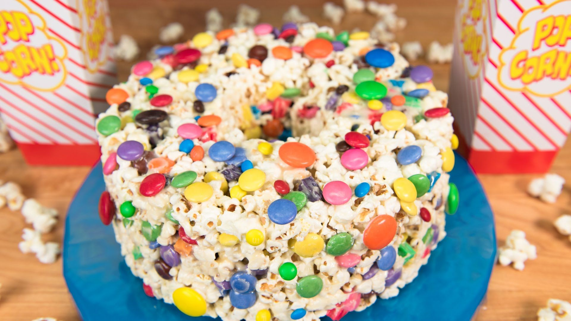 No Bake Popcorn Cake recipe beneath video Cookies Cupcakes and