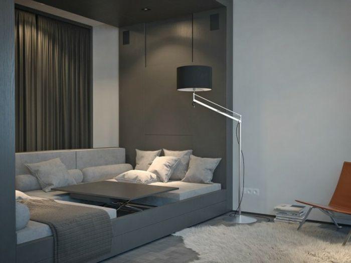 Ein zimmer wohnung mit minimalistischer einrichtung for Einzimmerwohnung einrichtungsbeispiele