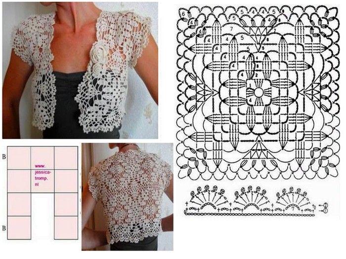 boleros-crochet (15) | tejidos telar- crochet | Pinterest | Croché ...
