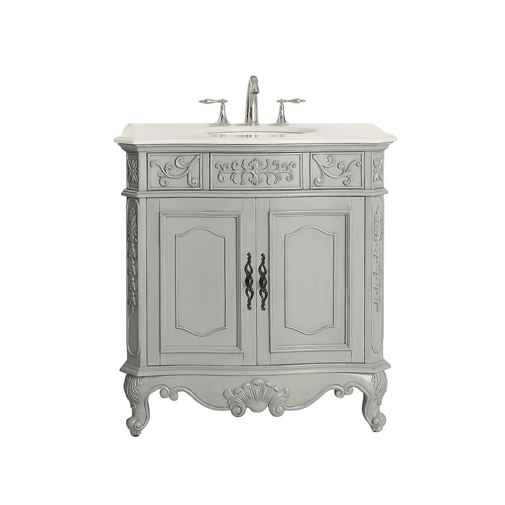 Home Decorators Collection Winslow 33 In W X 22 In D Vanity In Antique Gray With Marble Vanity Top In White With White Sink Winslow 33ag The Home Depot Marble Vanity