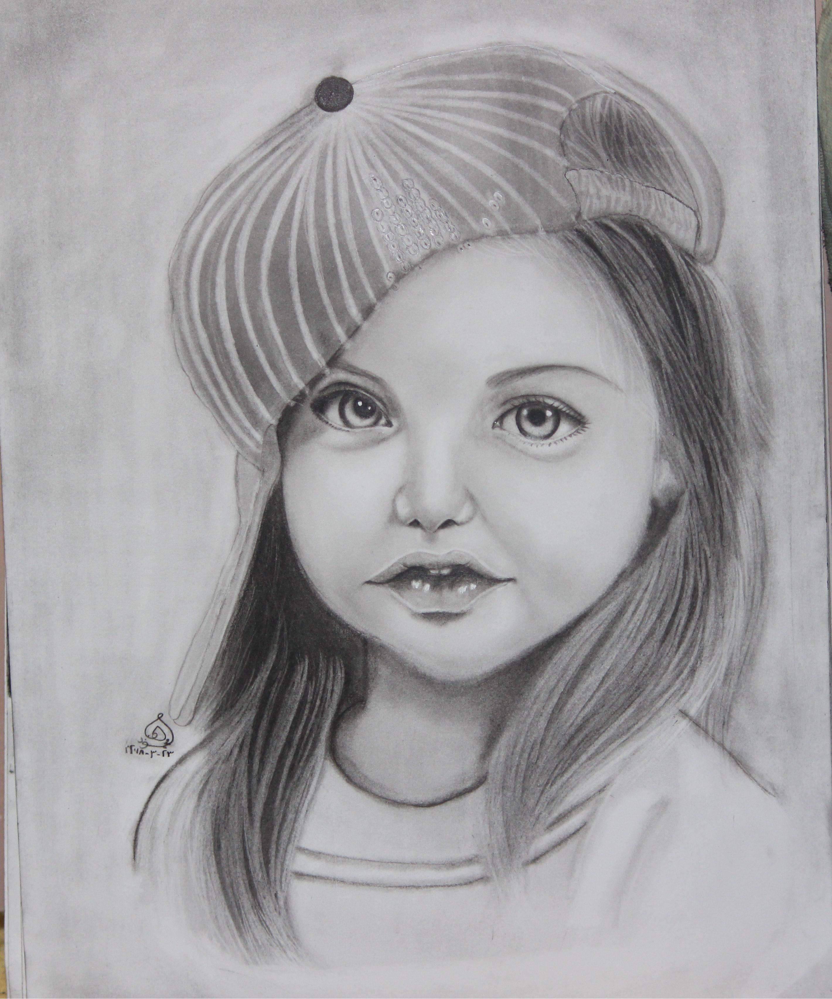 رسم بالفحم بنت صغيرة رسمتي Draw Cairo Egypt Art Female Sketch Female