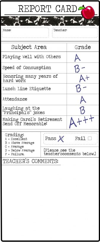 Teacher Report Card  Retirement Party Ideas For Mica