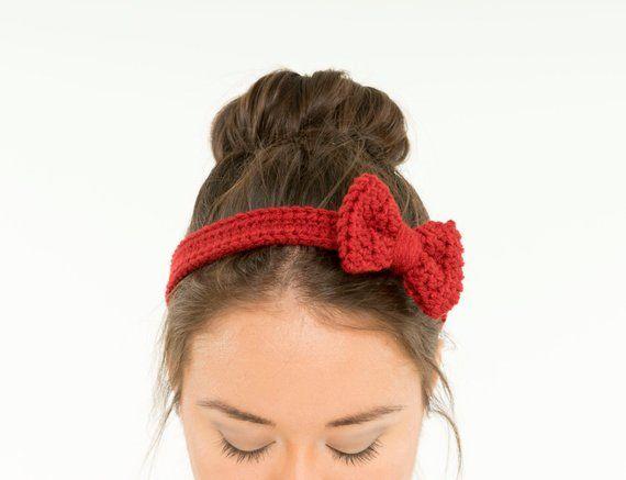 Deep Red Crochet Bow Headband   Crocheted Hair Band 490bf171010