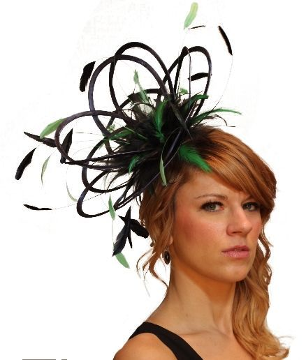 Navy Blue   Emerald Green Wedding Fascinator Hat Choose any Satin  Feather c94c9e38a2d5