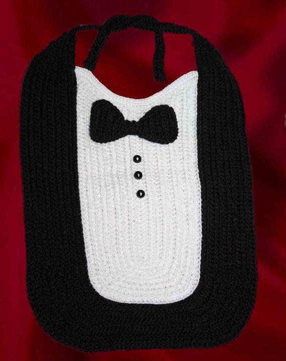 👔 🎩 Babador Menino Crochê do Bebê - / 👔 🎩 Baby Boy Crochet Bib ...