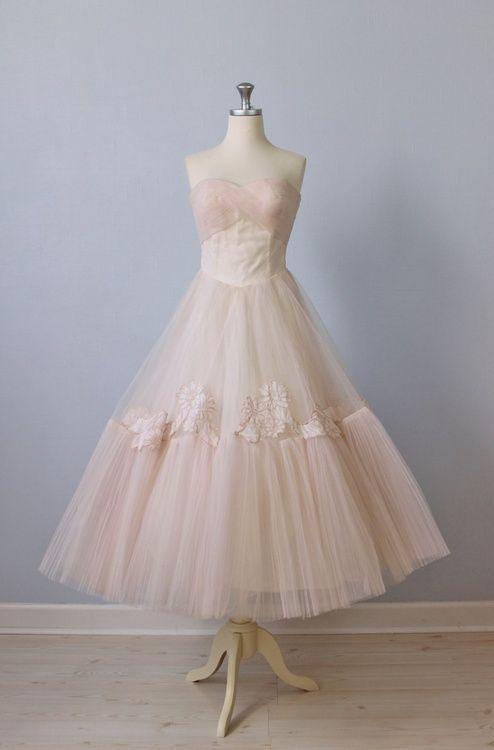 1950s Dress / 50s Pink Tea Length Wedding Dress / 50s Strapless Dress / Ballet Slippers