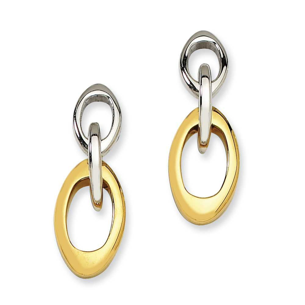 Chisel IPG 24k Plating Plated Polished Oval Post Dangle Earrings, Women's