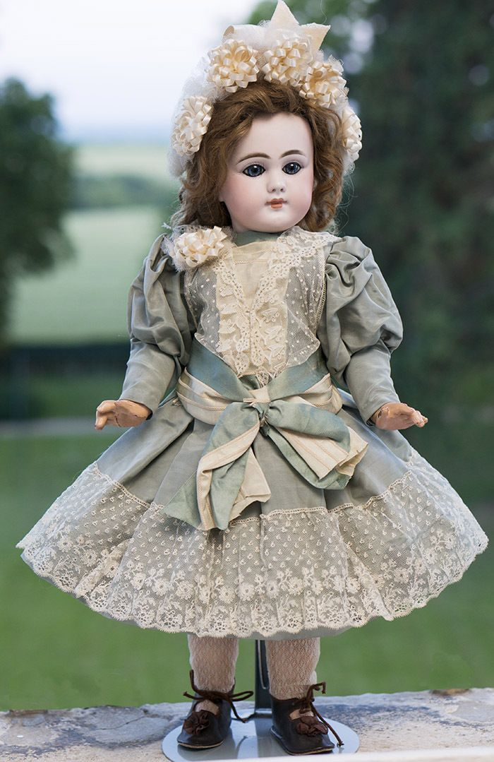 "19"" (49 cm) Rare Antique French Bisque Bebe Dep with Closed Mouth"