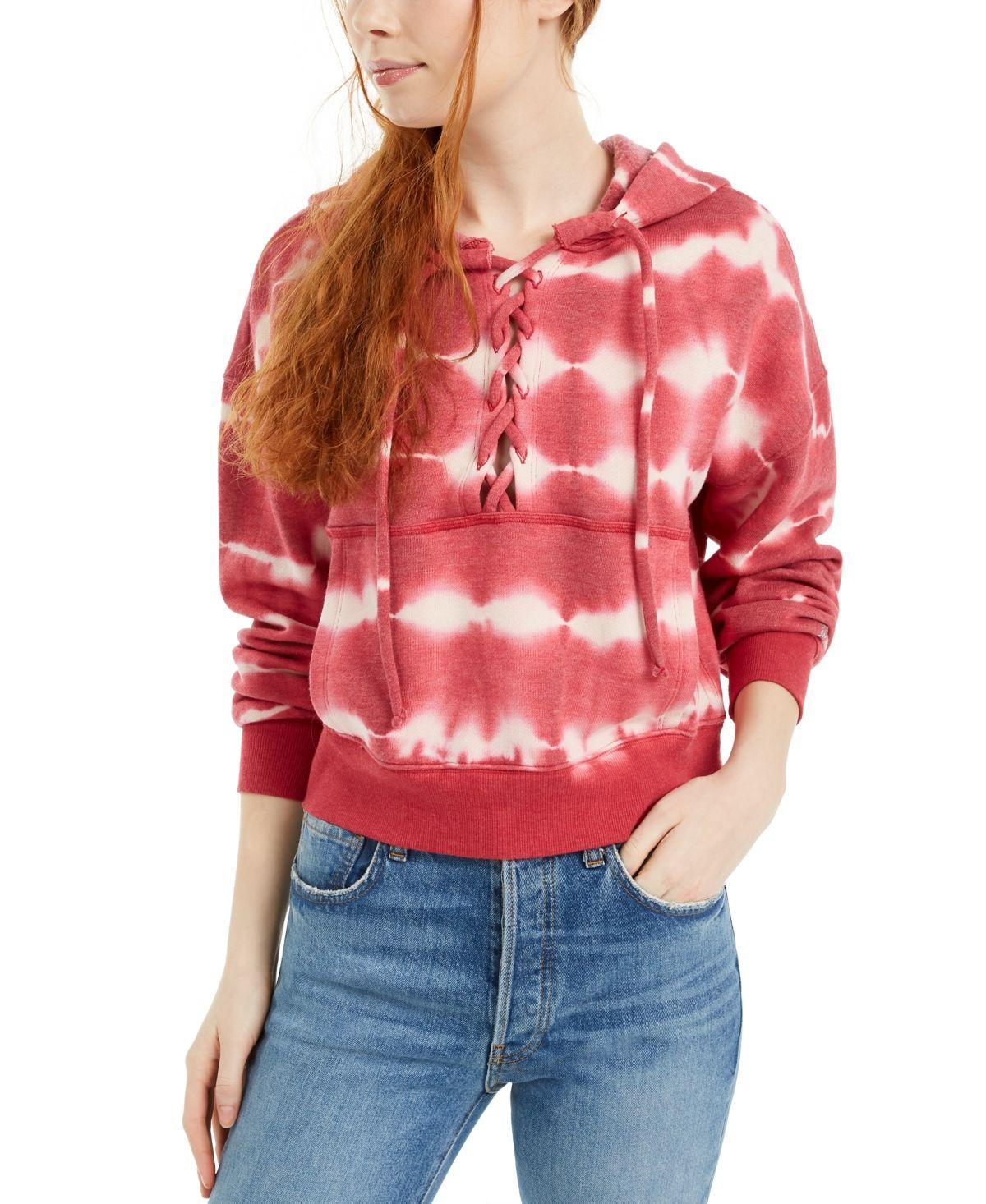 Free People Fp Movement Tie Dye Believer Sweatshirt Red Tie Dye Chic Sweatshirt Sweaters For Women [ 1466 x 1200 Pixel ]