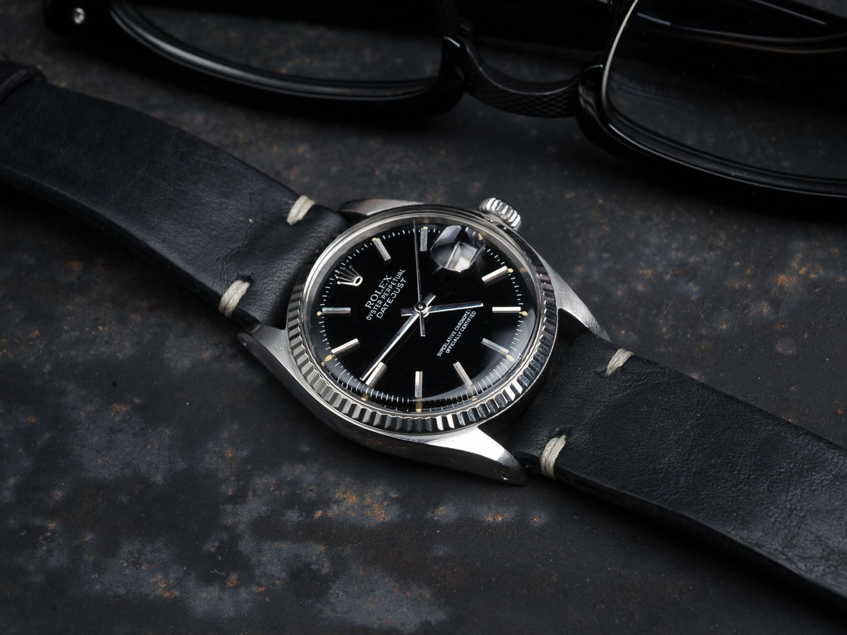 B S Black Vintage Hand Made Leather Strap 20 Mm Bulang Sons Rolex Datejust Black Leather Watch Strap Vintage Watches