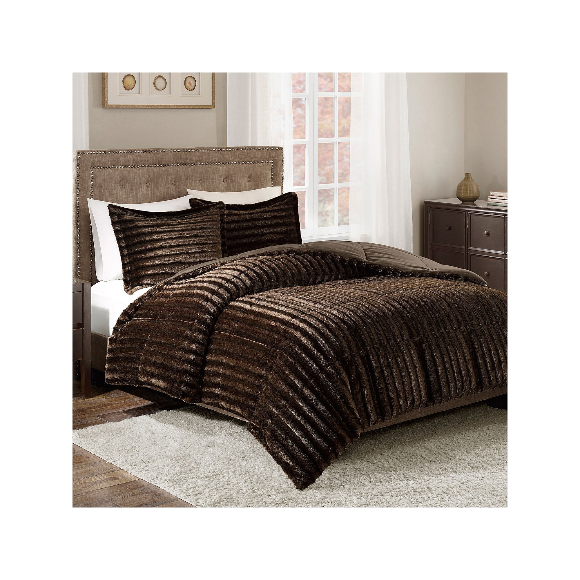 Madison Park Duke Faux Fur forter Set Med Brown