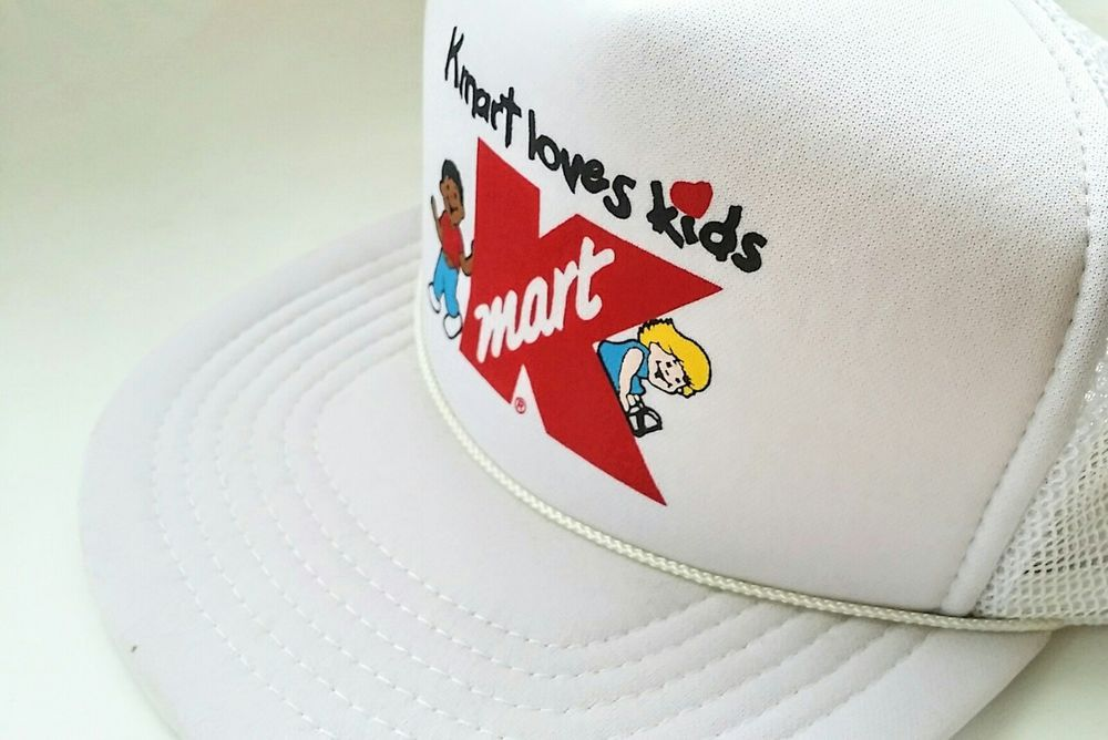 4045320198e20 Snapback Hat Mesh Back Trucker Baseball Cap KC vintage white Kmart Loves  Kids