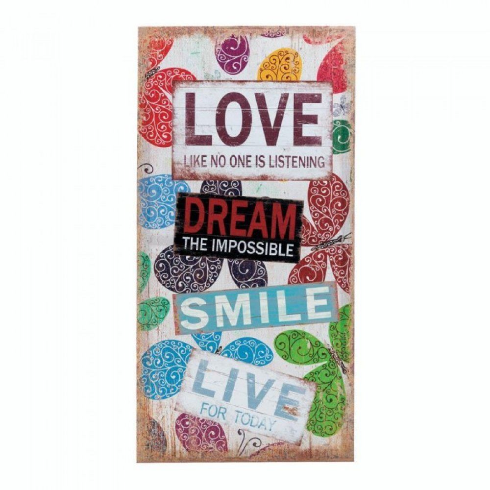 Rustic vintage style whimsy love dream smile canvas wood sign wall