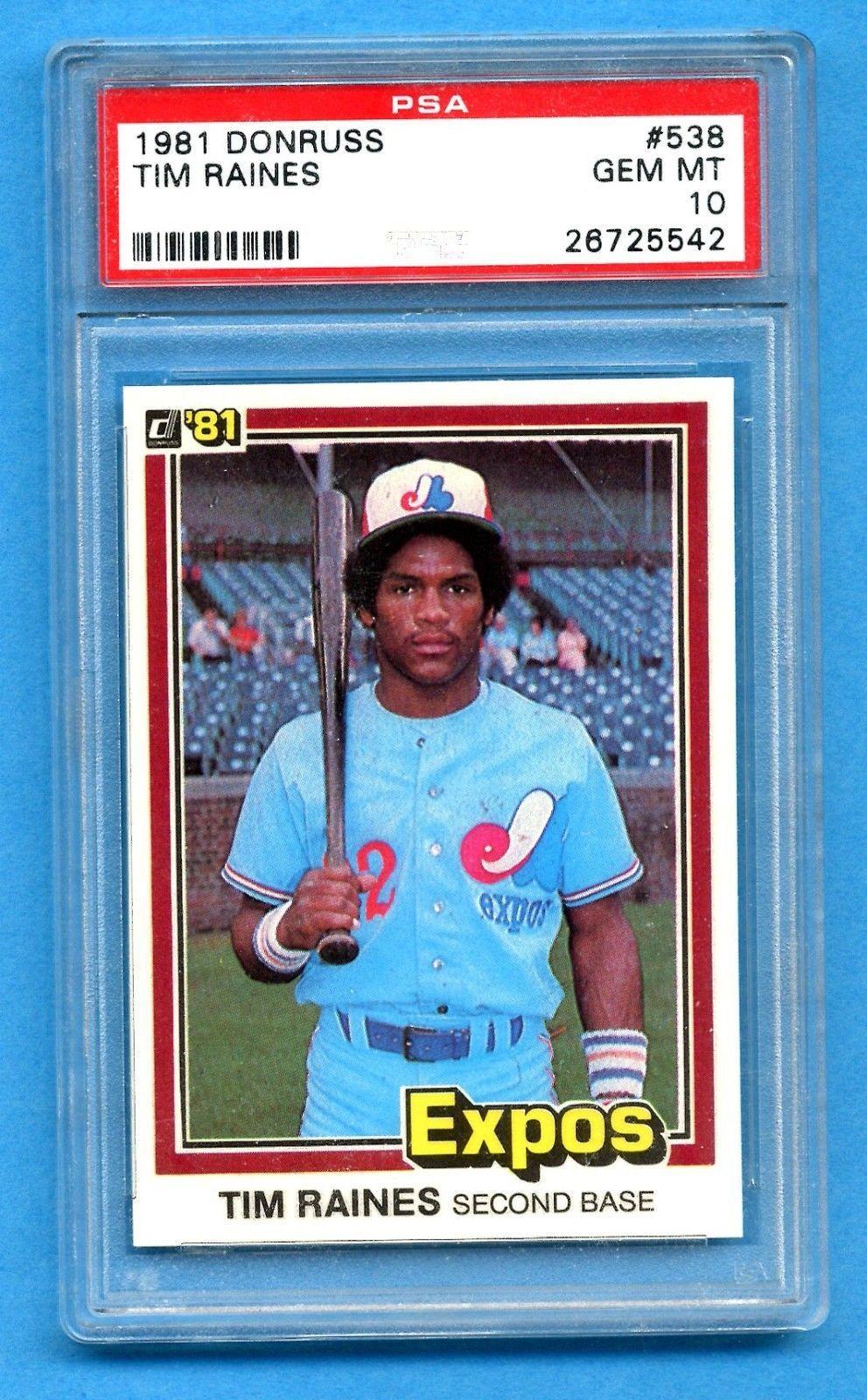 1981 donruss tim raines rookie card psa 10 gem mint psa10