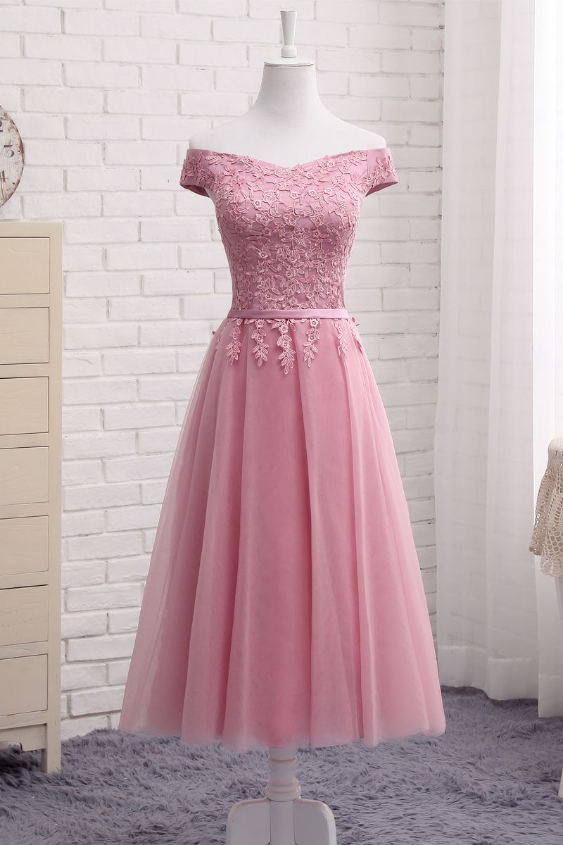 Cute a line lace off shoulder prom