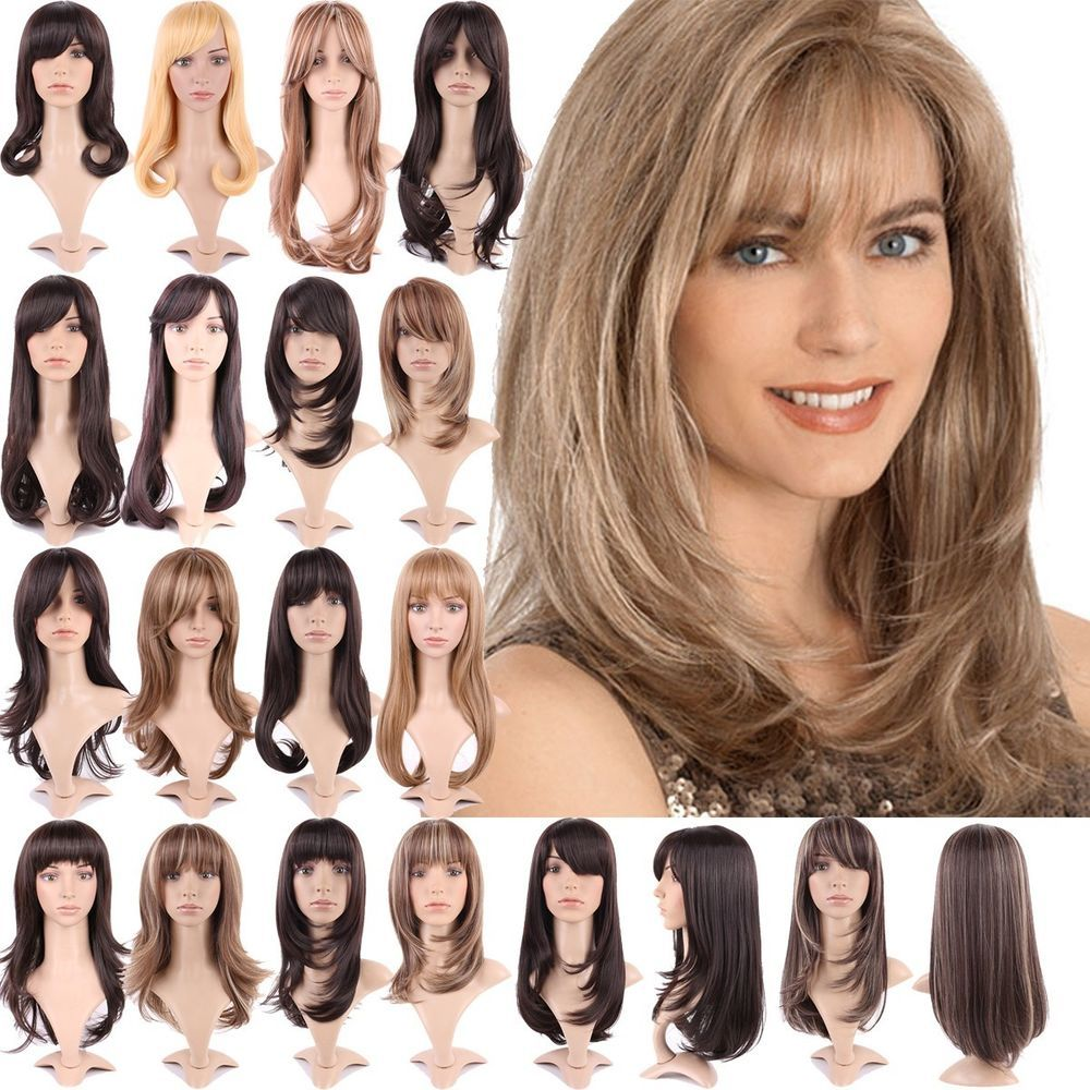 Cute Effortless Long Layered Haircuts Full Wig with Bangs Straight Wavy Hair #Unbranded ...