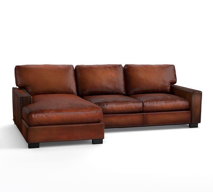 Turner Square Arm Leather Sofa With Chaise Sectional With