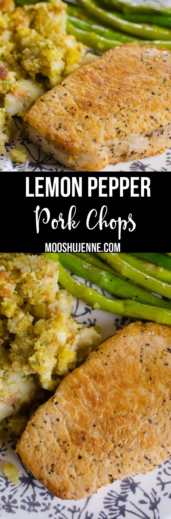 Lemon pepper is that spice that I love on tomatoes or pork. Yes, fresh tomatoes and lemon pepper. Which is why I love these Lemon Pepper Pork Chops via @mooshujenne