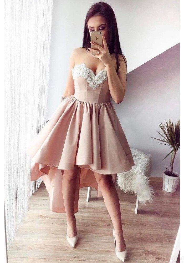 e5d633d98e24 High Low Round Neck Lace Homecoming Dresses Party Dresses Prom Dresses  Cocktail Dresses Graduation Dresses(ED1870)