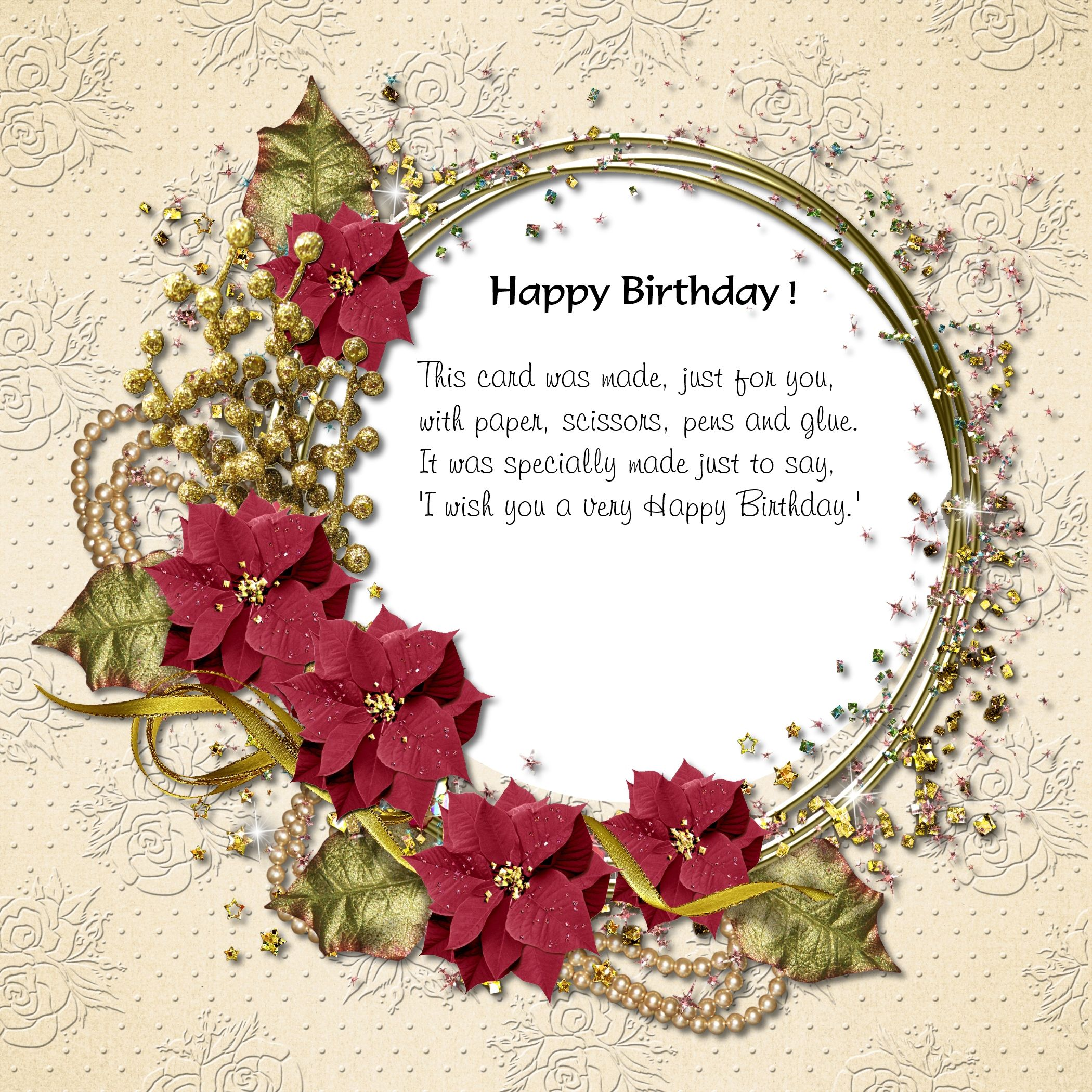 Birthday Card insert created with DigiBoss Background and flower frame.