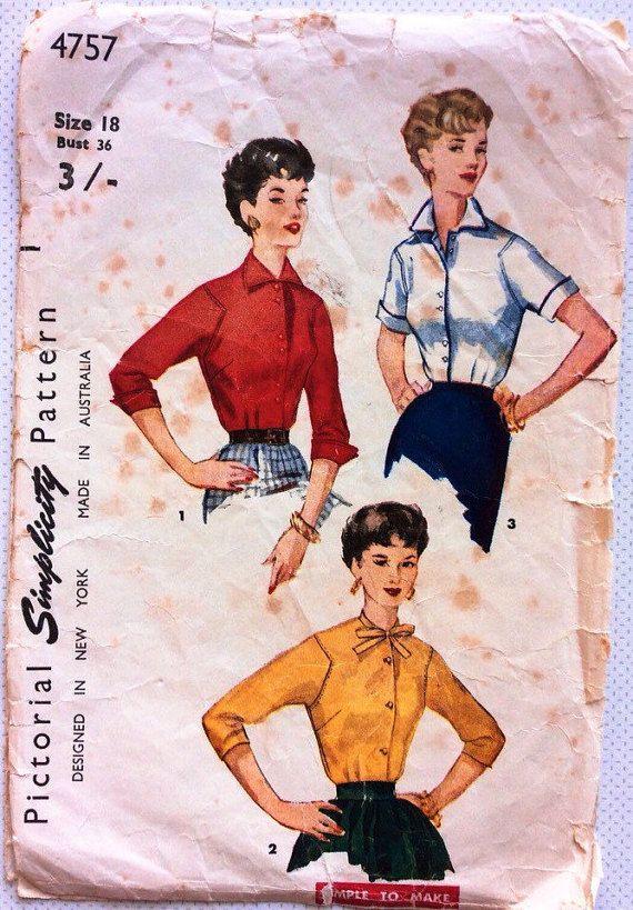1950er Jahre Jahrgang Schnittmuster von 101VintagePatterns auf Etsy ...