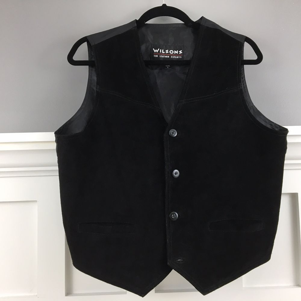 Wilsons The Leather Experts Mens Black Suede Leather Vest