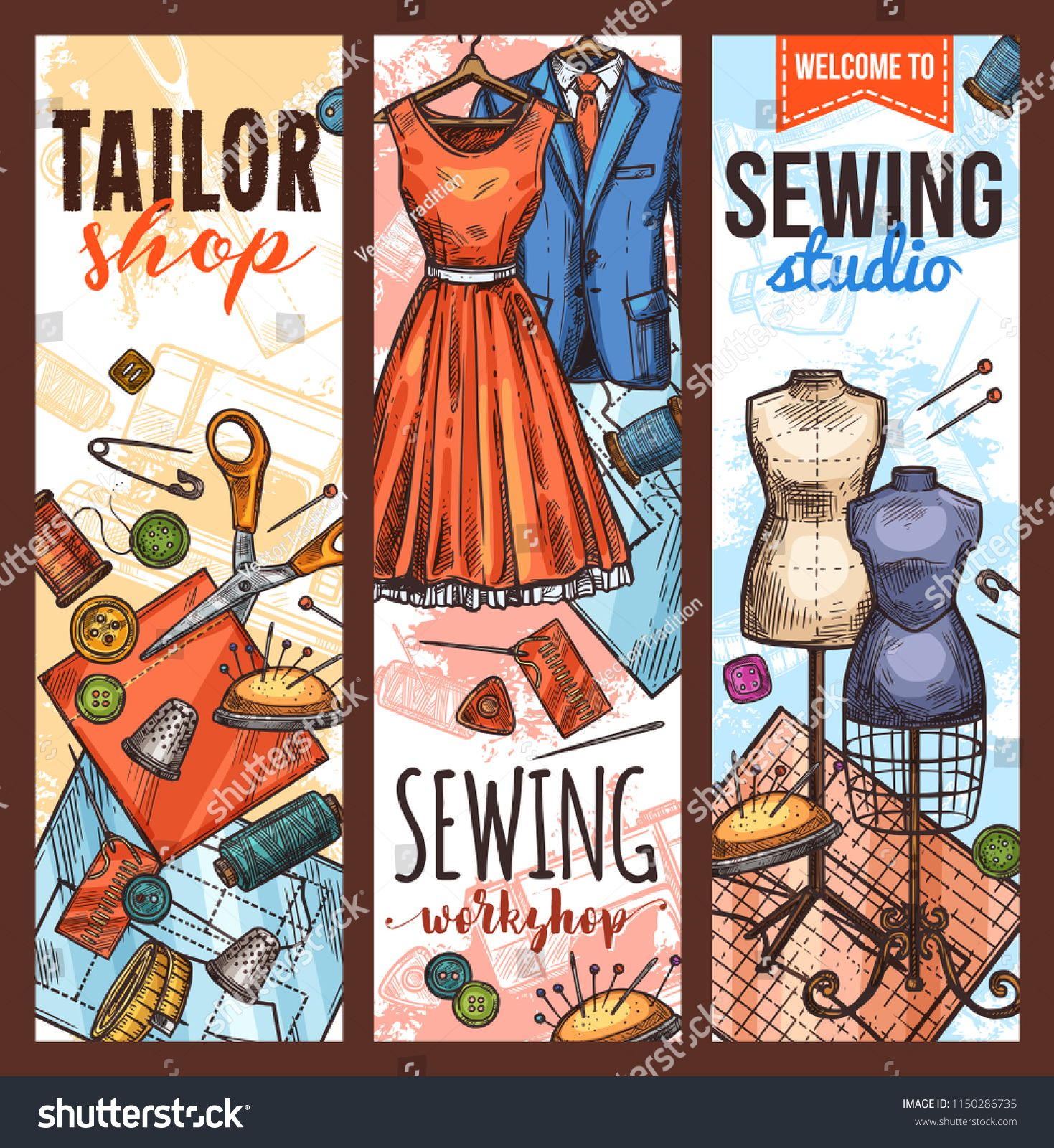Tailor workshop and sewing studio sketch banner  Fabric