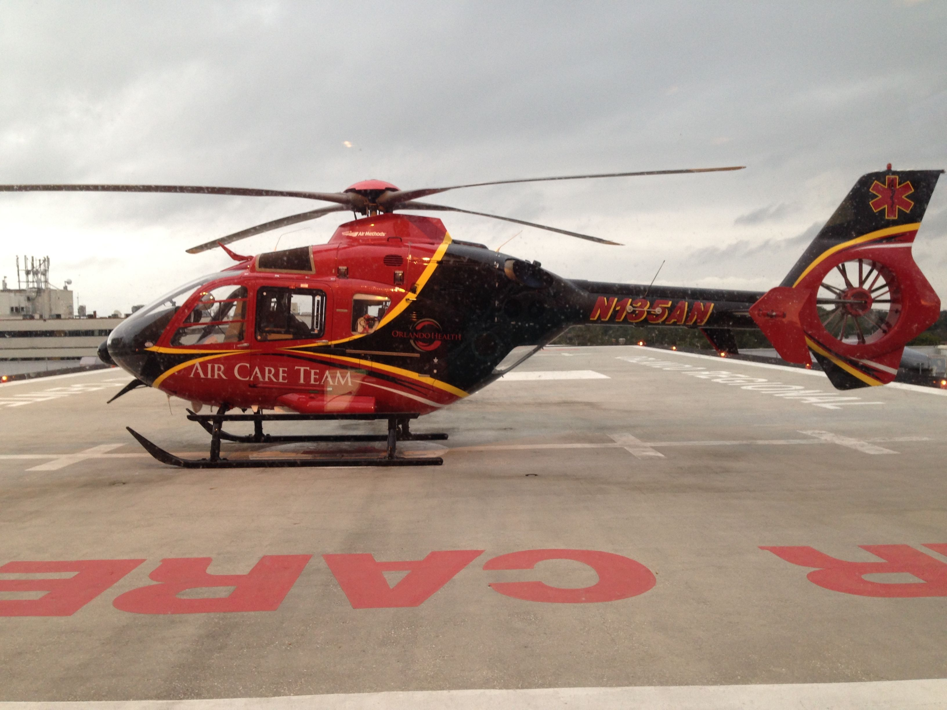 Our Air Care Helicopter Waiting On The Helipad During A Heavy Storm In Central Florida Flight Paramedic Helicopter Fire Trucks