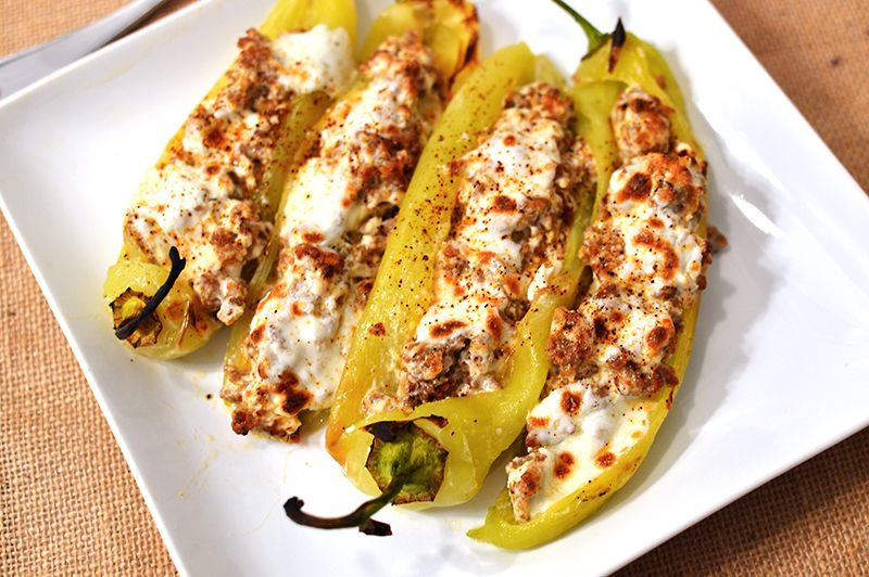 Cheese Sausage Stuffed Peppers That Square Plate Recipe Stuffed Peppers Peppers Recipes Stuffed Banana Peppers
