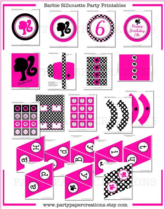Barbie Birthday Party Hot Pink and Dots Printable Decor Barbie