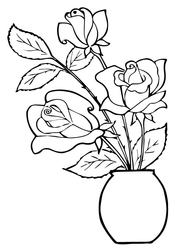 print coloring image - MomJunction | Rose coloring pages ...